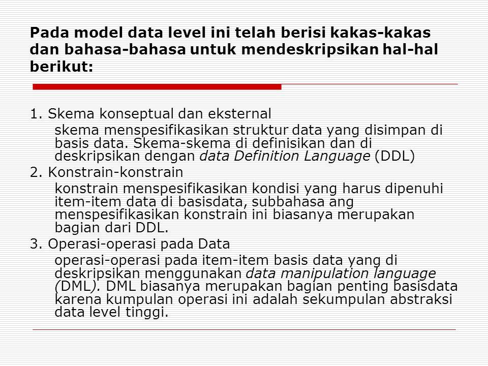 Pada model data level ini telah berisi kakas-kakas dan bahasa-bahasa untuk mendeskripsikan hal-hal berikut: