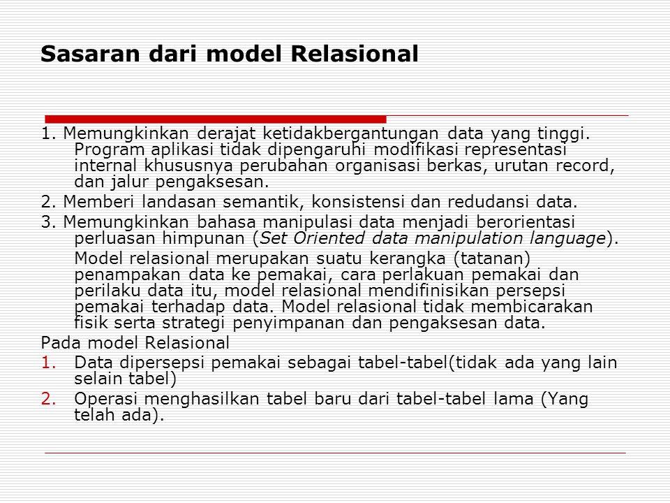 Sasaran dari model Relasional