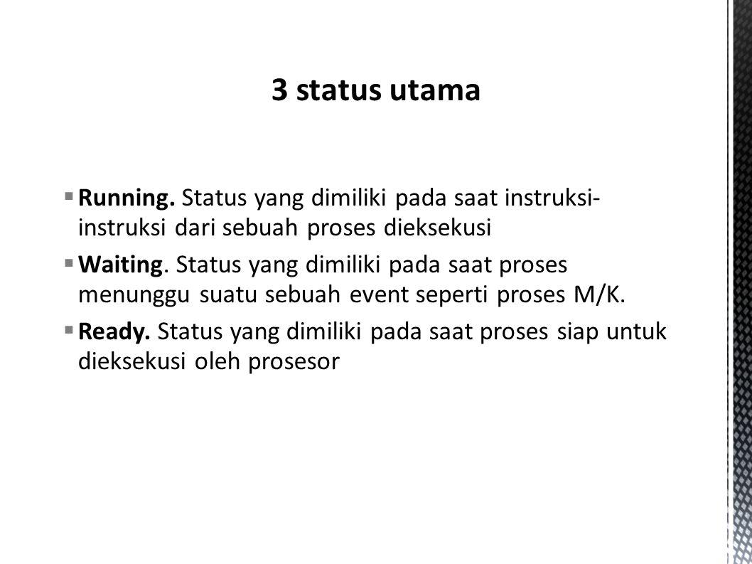 3 status utama Running. Status yang dimiliki pada saat instruksi-instruksi dari sebuah proses dieksekusi.