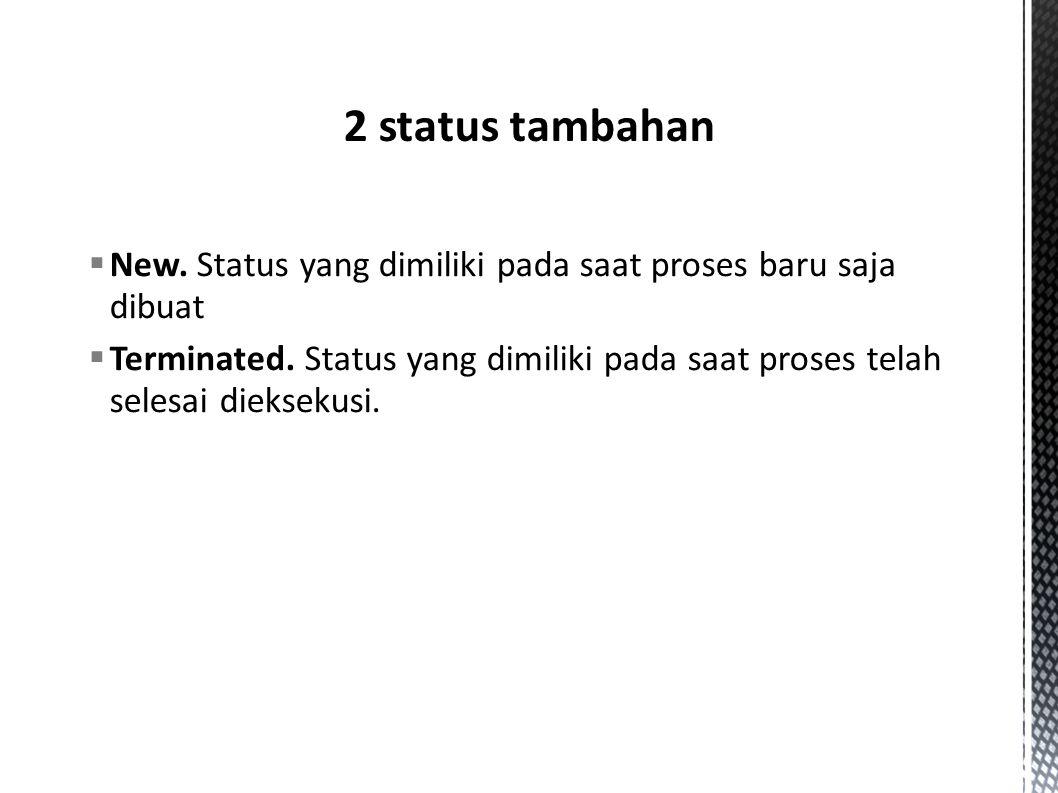 2 status tambahan New. Status yang dimiliki pada saat proses baru saja dibuat.