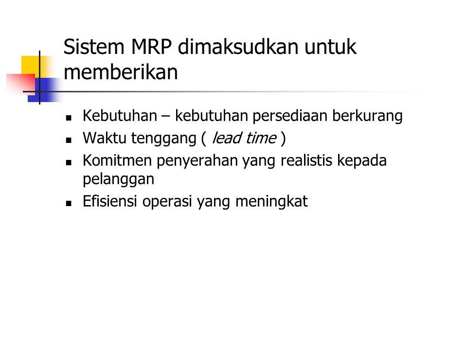 Sistem MRP dimaksudkan untuk memberikan