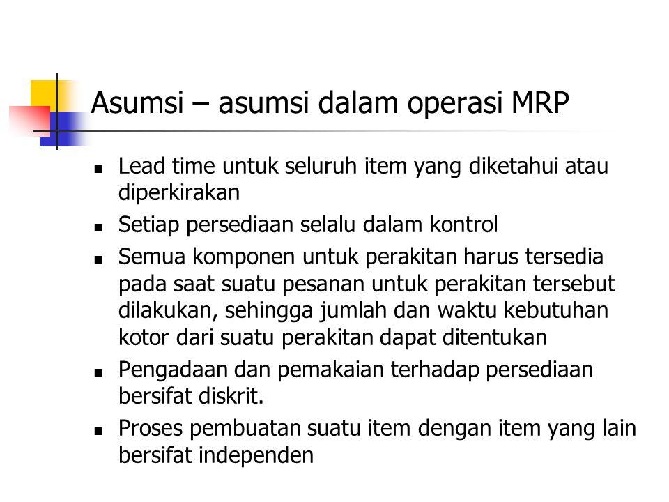 Asumsi – asumsi dalam operasi MRP