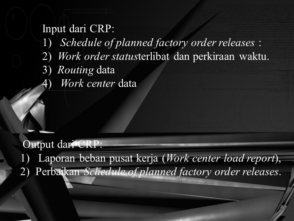 1) Schedule of planned factory order releases :