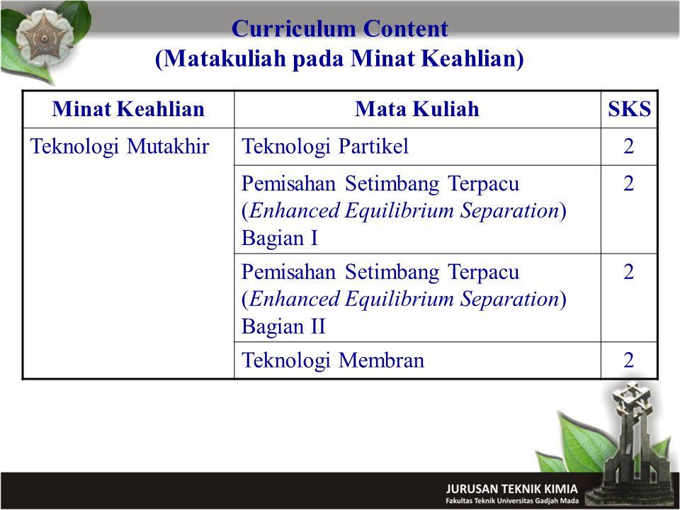 Curriculum Content (Matakuliah pada Minat Keahlian)