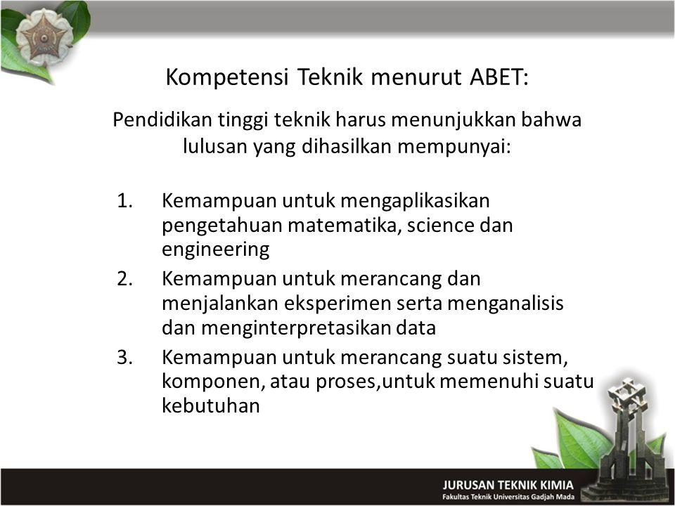 Kompetensi Teknik menurut ABET: Pendidikan tinggi teknik harus menunjukkan bahwa lulusan yang dihasilkan mempunyai: