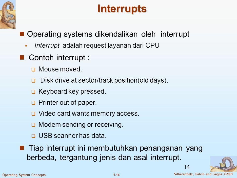 Interrupts Operating systems dikendalikan oleh interrupt