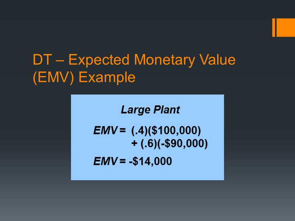 DT – Expected Monetary Value (EMV) Example