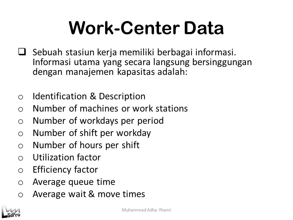 Work-Center Data
