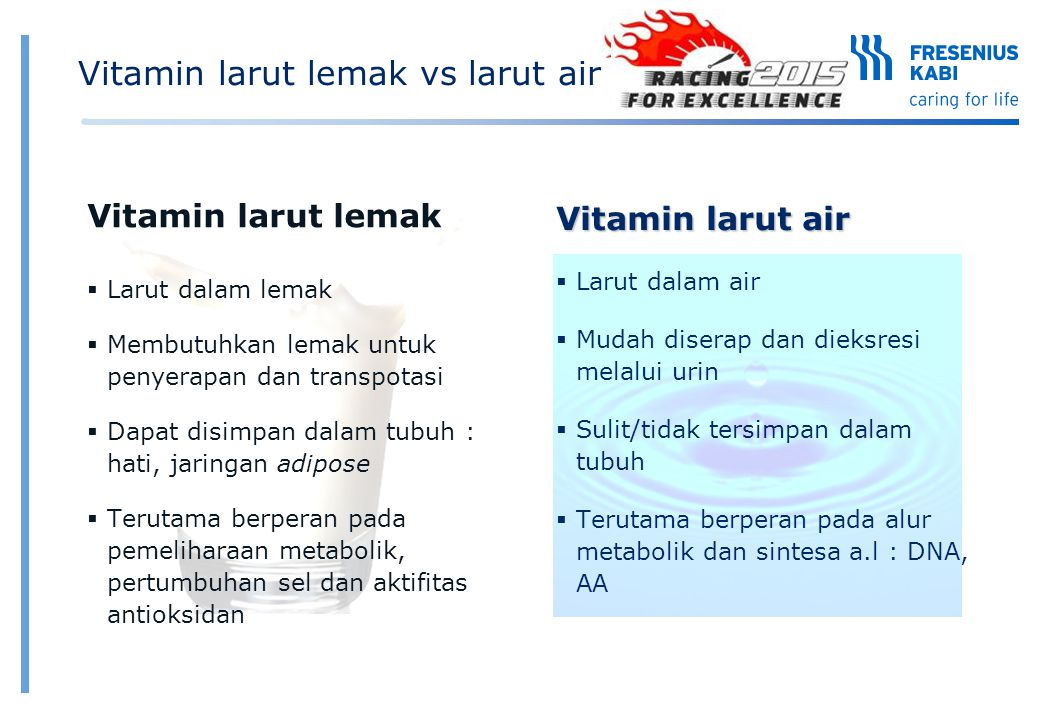 Vitamin larut lemak vs larut air