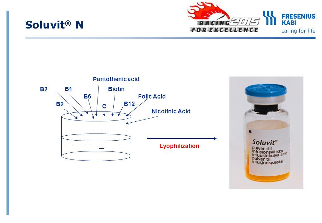 Soluvit® N Pantothenic acid B2 B1 Biotin B6 Folic Acid B2 B12 C