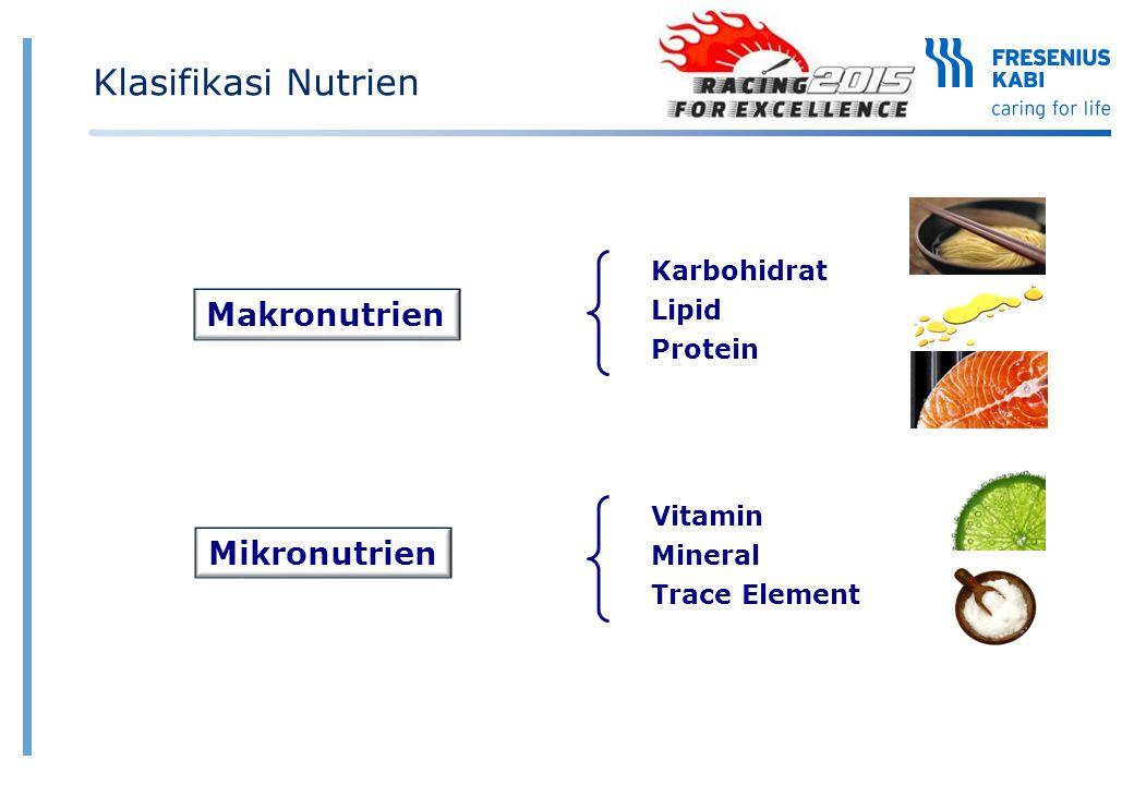 Klasifikasi Nutrien Makronutrien Mikronutrien Karbohidrat Lipid
