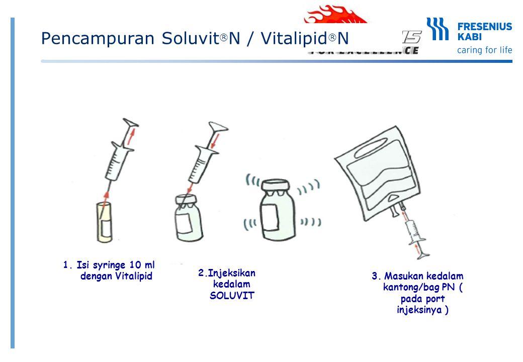 1. Isi syringe 10 ml dengan Vitalipid 2.Injeksikan kedalam SOLUVIT