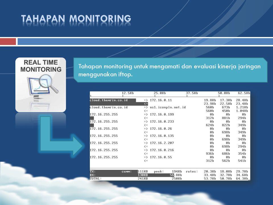 TAHAPAN MONITORING Tahapan monitoring untuk mengamati dan evaluasi kinerja jaringan menggunakan iftop.