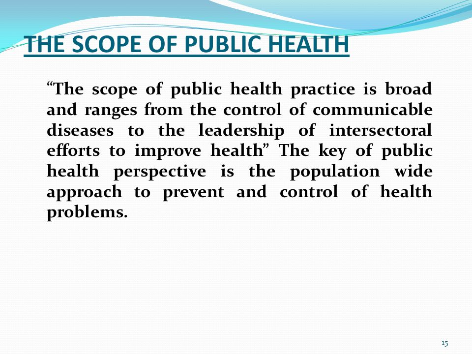 THE SCOPE OF PUBLIC HEALTH