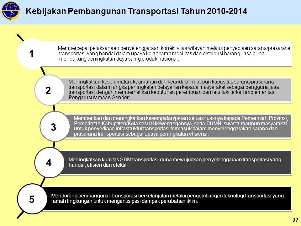 1 2 3 4 5 Kebijakan Pembangunan Transportasi Tahun 2010-2014