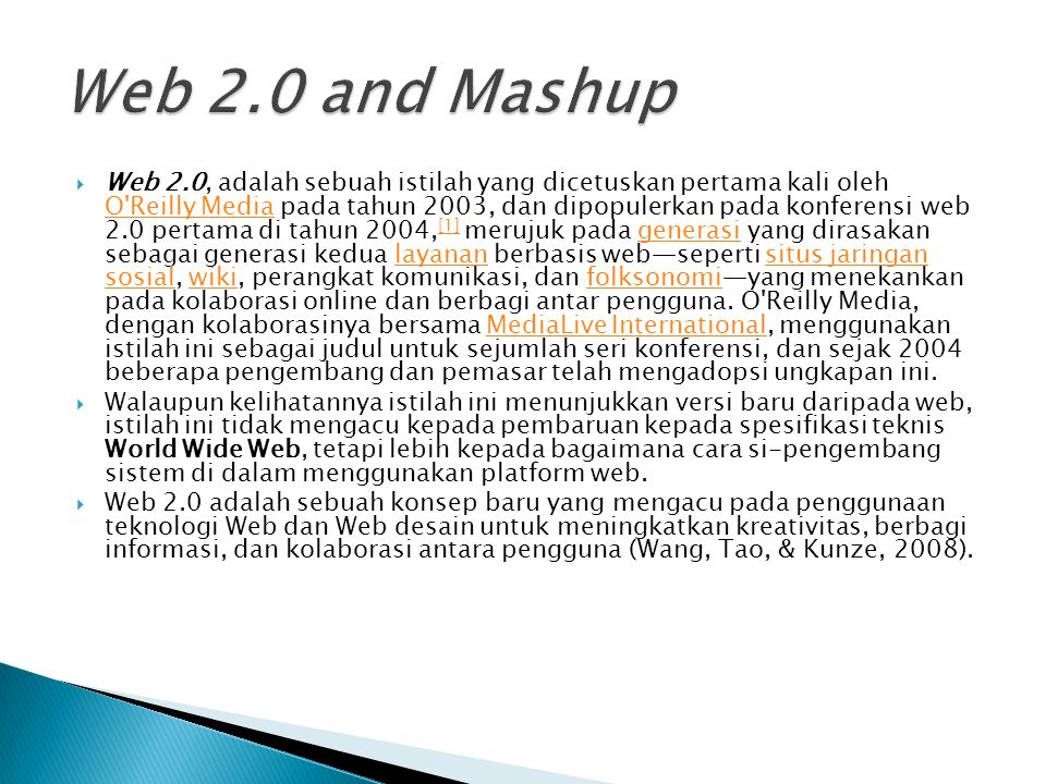 Web 2.0 and Mashup