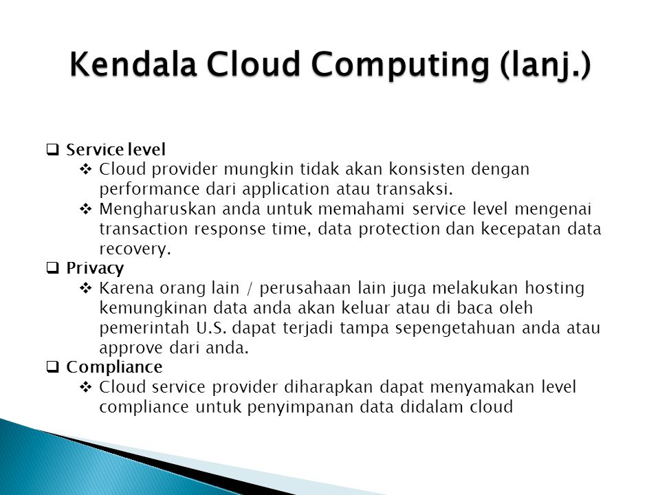 Kendala Cloud Computing (lanj.)