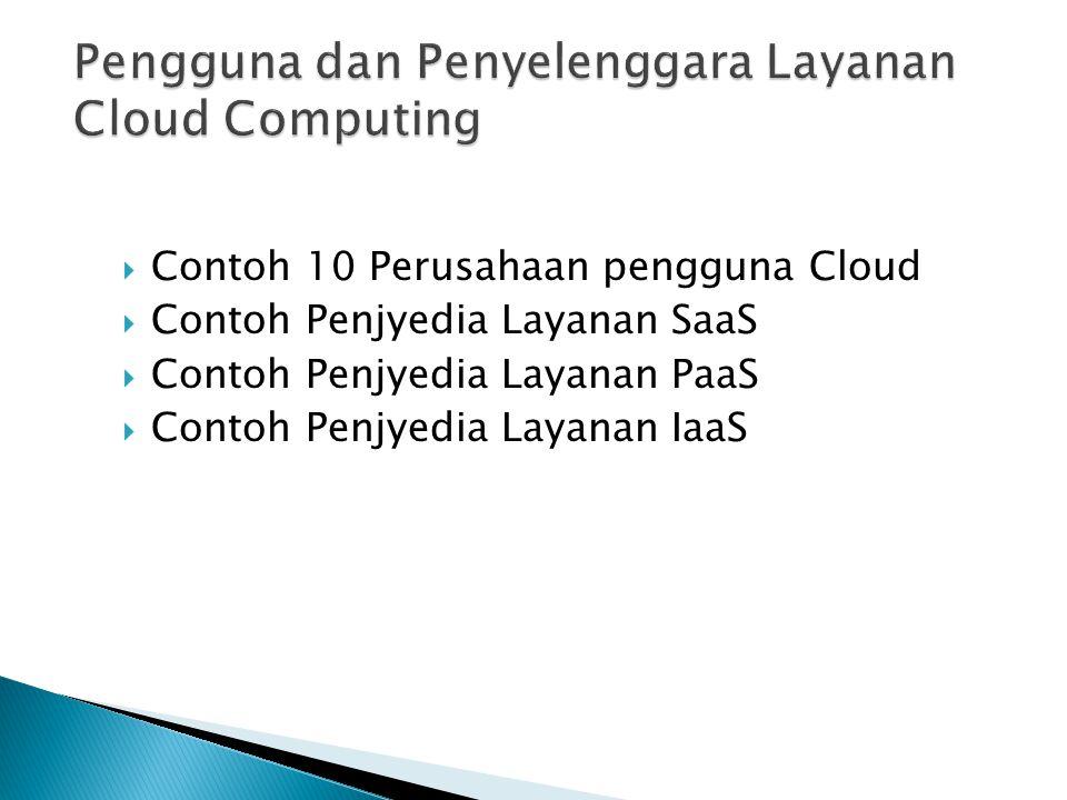 Pengguna dan Penyelenggara Layanan Cloud Computing