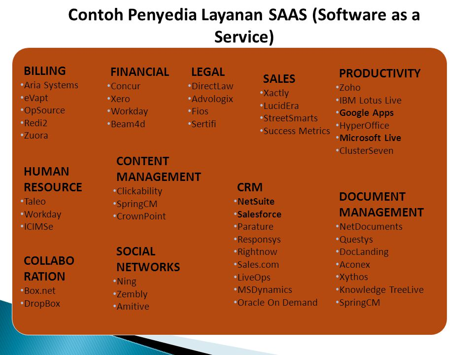 Contoh Penyedia Layanan SAAS (Software as a Service)