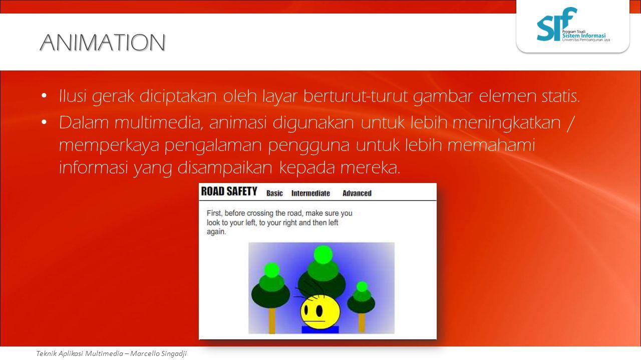 ANIMATION Ilusi gerak diciptakan oleh layar berturut-turut gambar elemen statis.