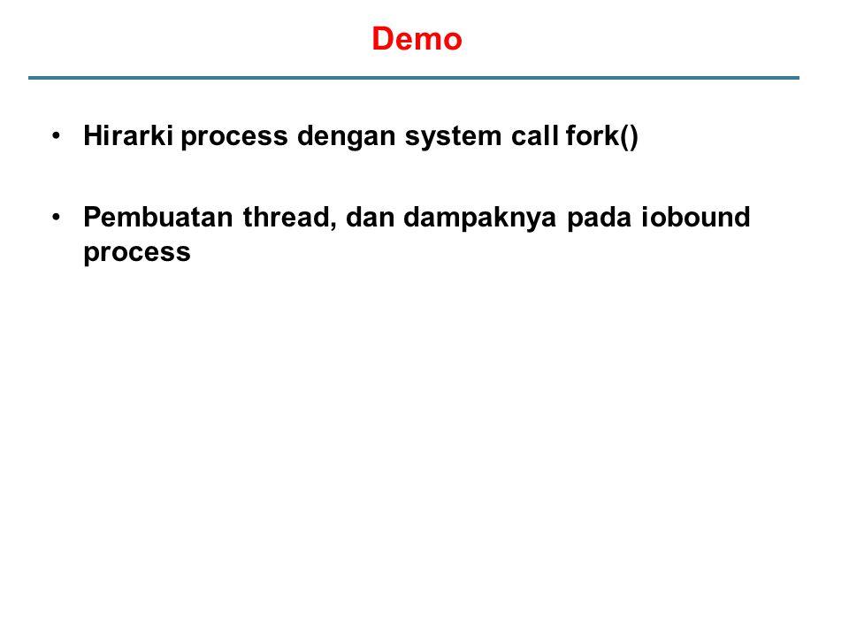 Demo Hirarki process dengan system call fork()