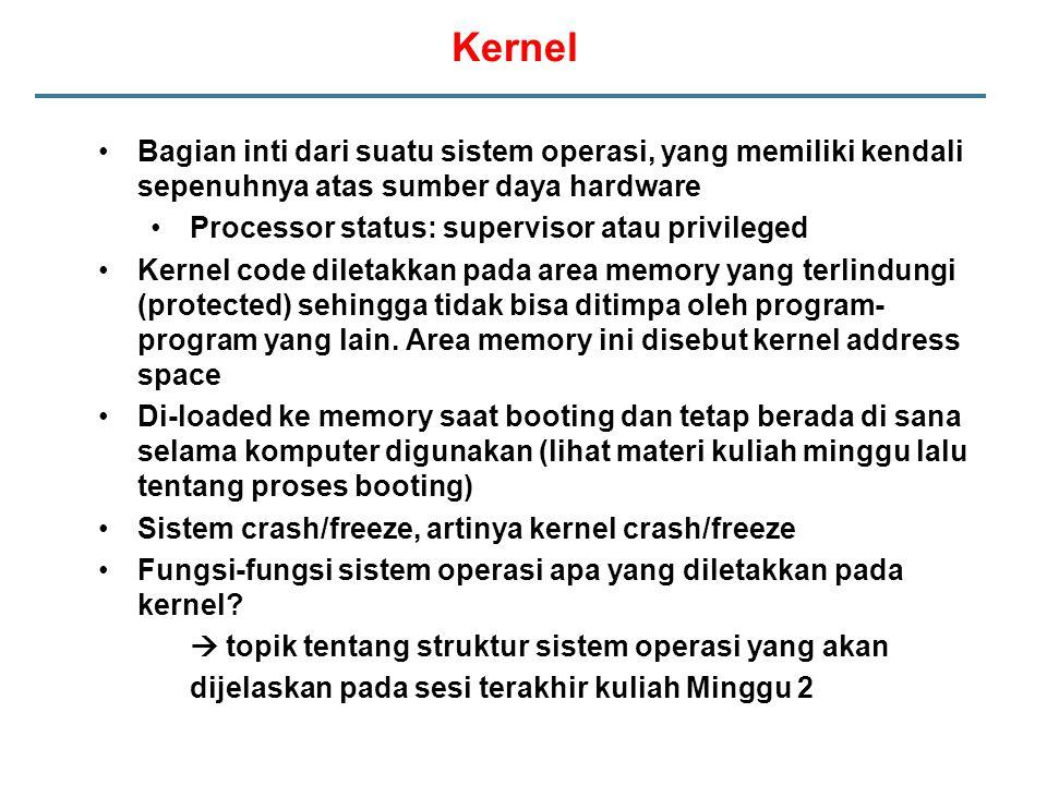 Kernel Bagian inti dari suatu sistem operasi, yang memiliki kendali sepenuhnya atas sumber daya hardware.