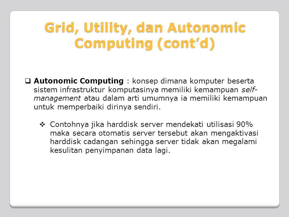 Autonomic Computing : konsep dimana komputer beserta sistem infrastruktur komputasinya memiliki kemampuan self-management atau dalam arti umumnya ia memiliki kemampuan untuk memperbaiki dirinya sendiri.