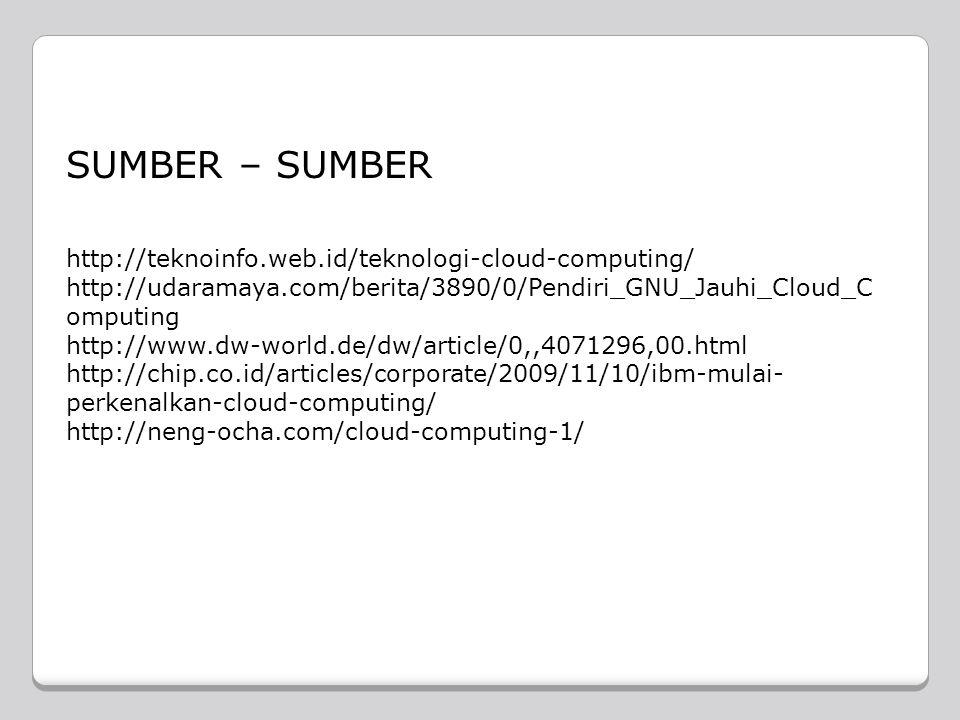 SUMBER – SUMBER http://teknoinfo.web.id/teknologi-cloud-computing/