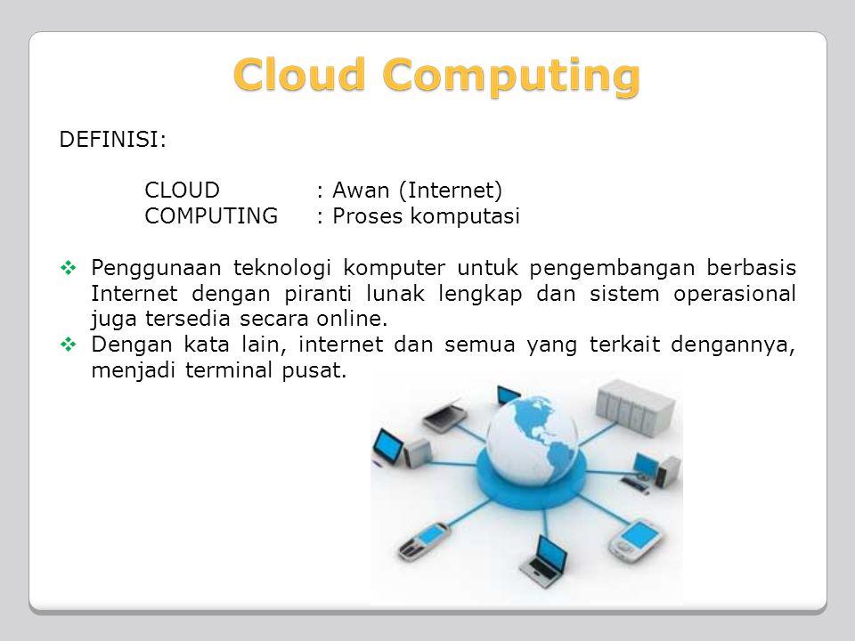 DEFINISI: CLOUD : Awan (Internet) COMPUTING : Proses komputasi.