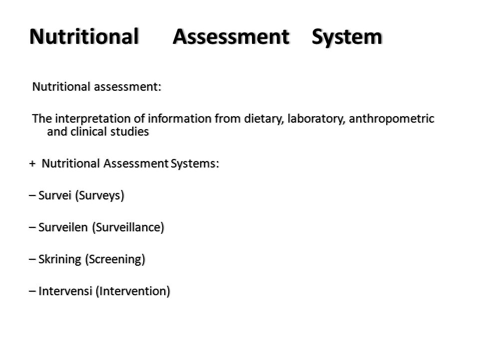 Nutritional Assessment System