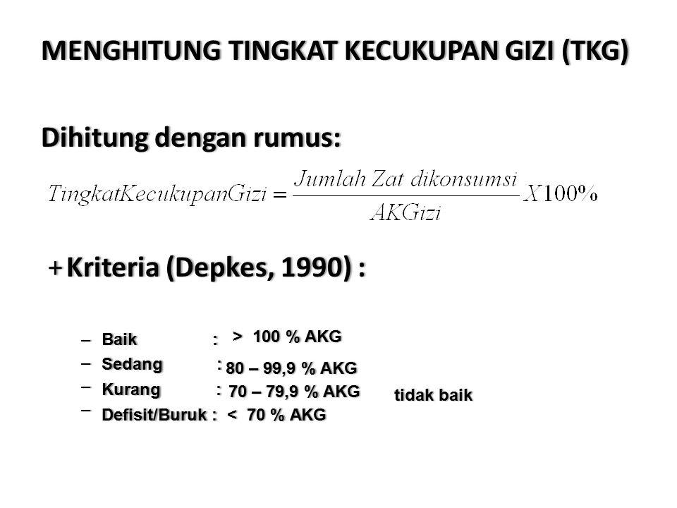 MENGHITUNG TINGKAT KECUKUPAN GIZI (TKG) Dihitung dengan rumus: + Kriteria (Depkes, 1990) :