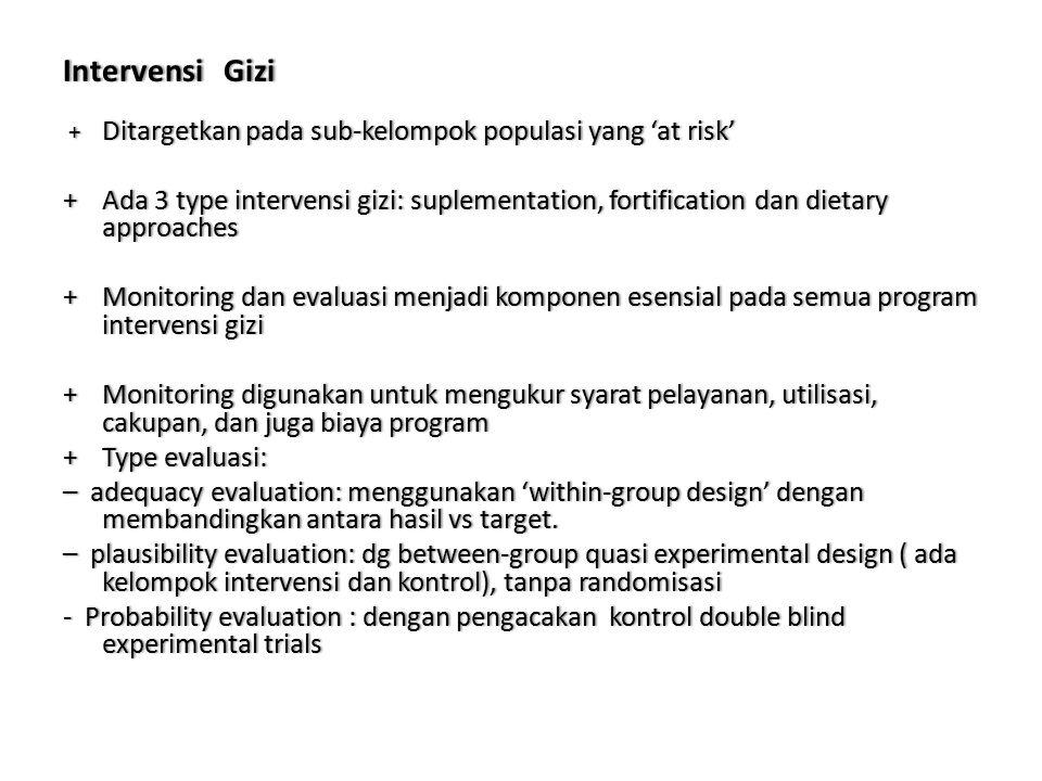 Intervensi Gizi + Ditargetkan pada sub-kelompok populasi yang 'at risk'