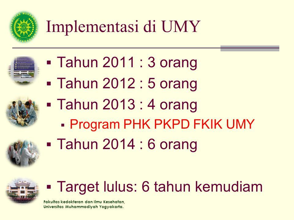 Implementasi di UMY Tahun 2011 : 3 orang Tahun 2012 : 5 orang