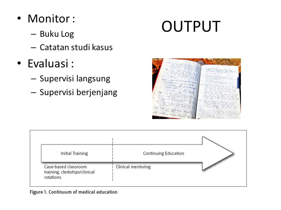 OUTPUT Monitor : Evaluasi : Buku Log Catatan studi kasus