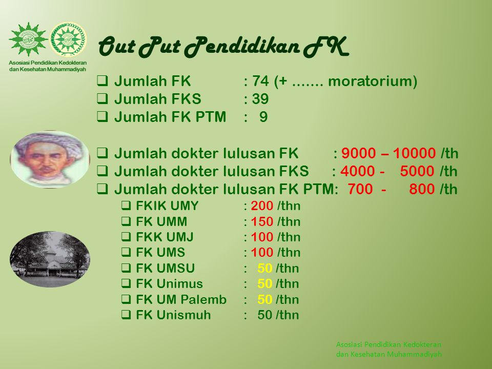 Out Put Pendidikan FK Jumlah FK : 74 (+ ....... moratorium)