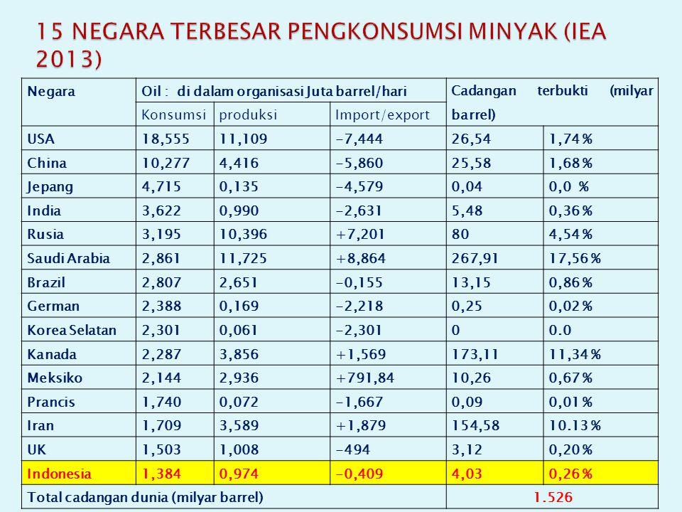15 NEGARA TERBESAR PENGKONSUMSI MINYAK (IEA 2013)