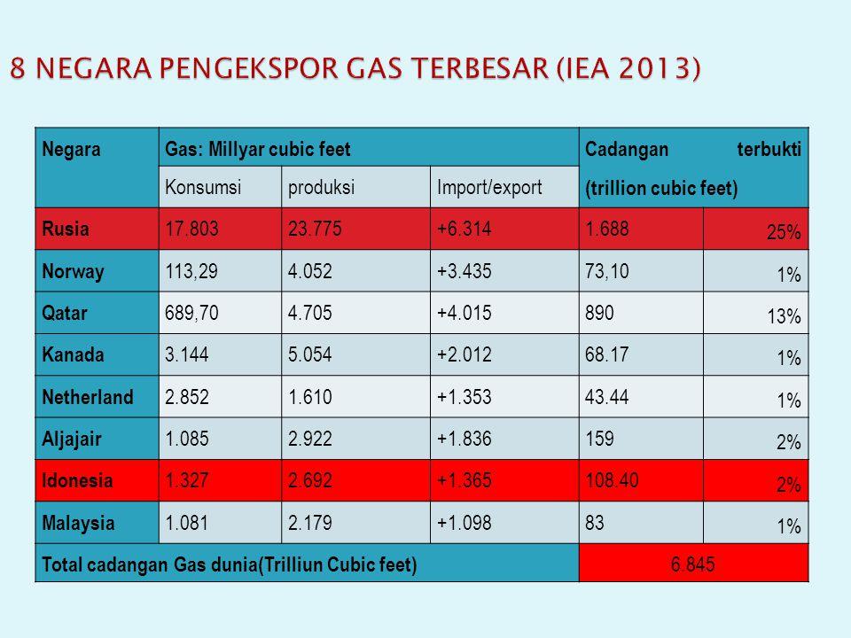 8 NEGARA PENGEKSPOR GAS TERBESAR (IEA 2013)