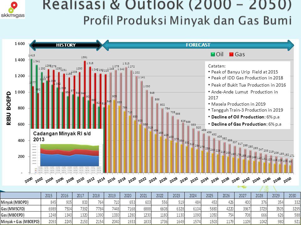 Realisasi & Outlook (2000 – 2050) Profil Produksi Minyak dan Gas Bumi