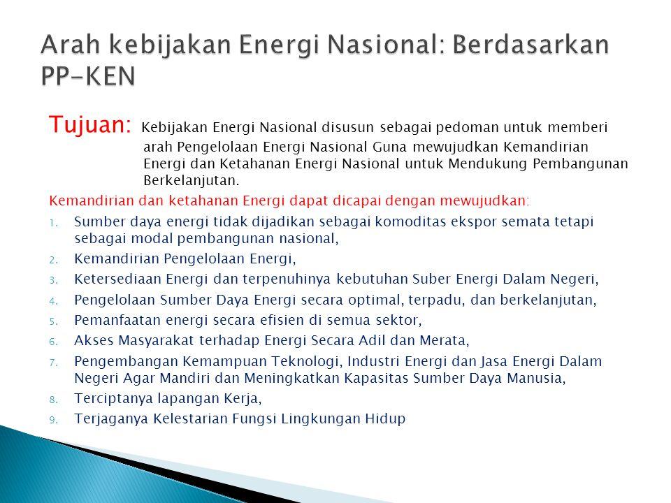 Arah kebijakan Energi Nasional: Berdasarkan PP-KEN