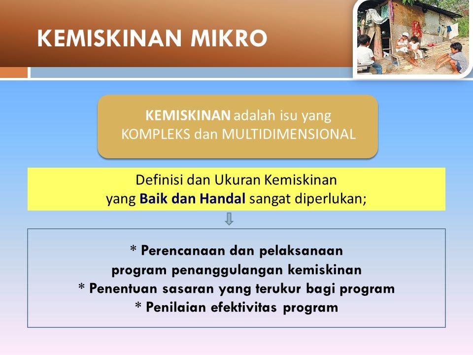 KEMISKINAN MIKRO KEMISKINAN adalah isu yang KOMPLEKS dan MULTIDIMENSIONAL. Definisi dan Ukuran Kemiskinan.