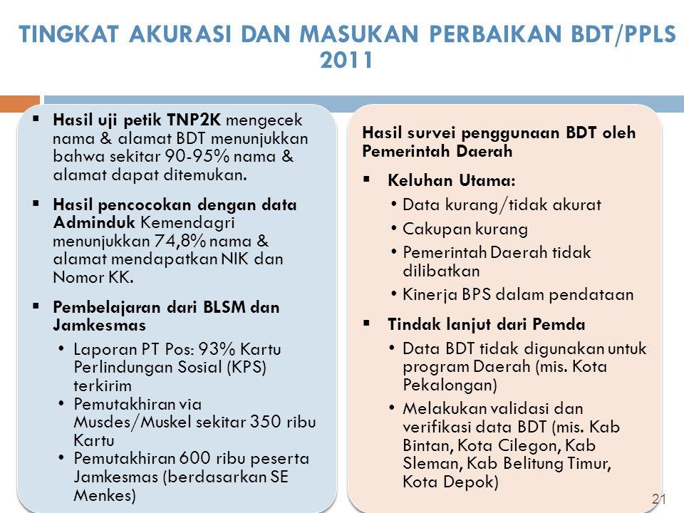 TINGKAT AKURASI DAN MASUKAN PERBAIKAN BDT/PPLS 2011