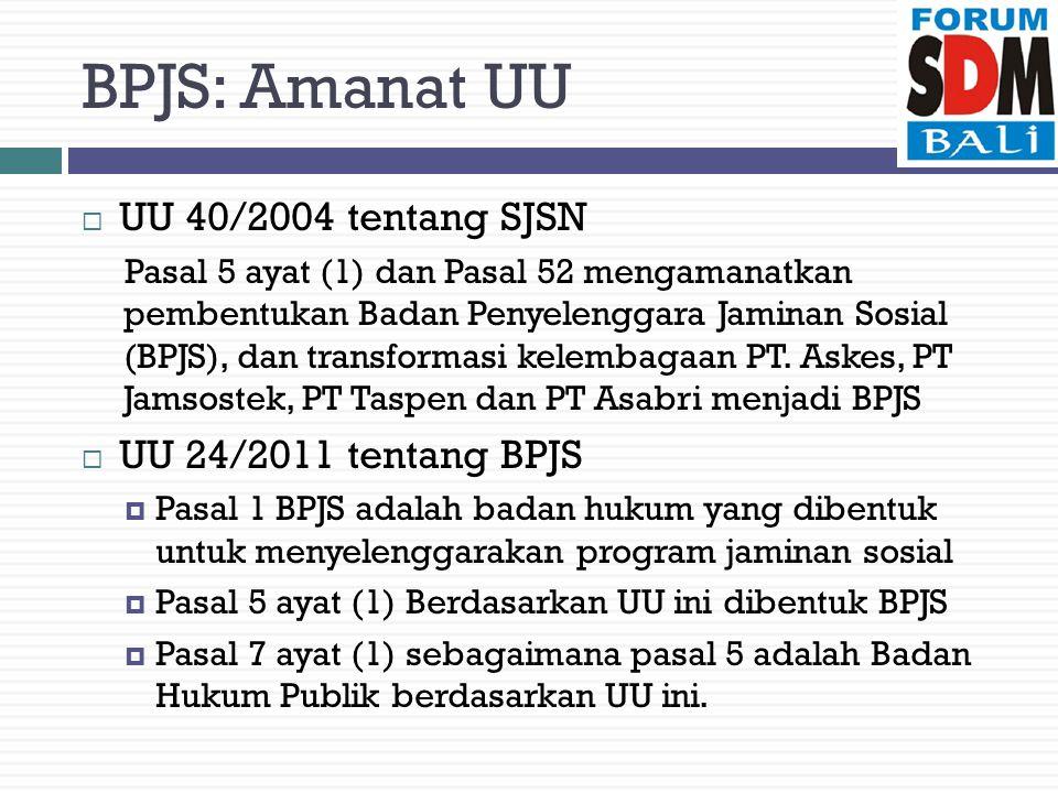 BPJS: Amanat UU UU 40/2004 tentang SJSN UU 24/2011 tentang BPJS