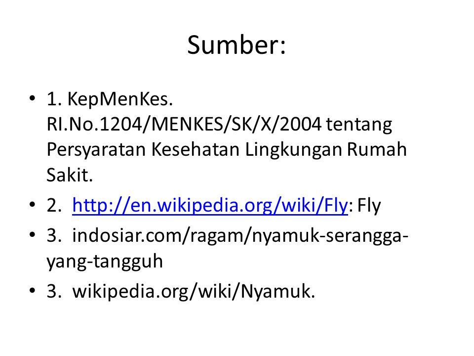 Sumber: 1. KepMenKes. RI.No.1204/MENKES/SK/X/2004 tentang Persyaratan Kesehatan Lingkungan Rumah Sakit.