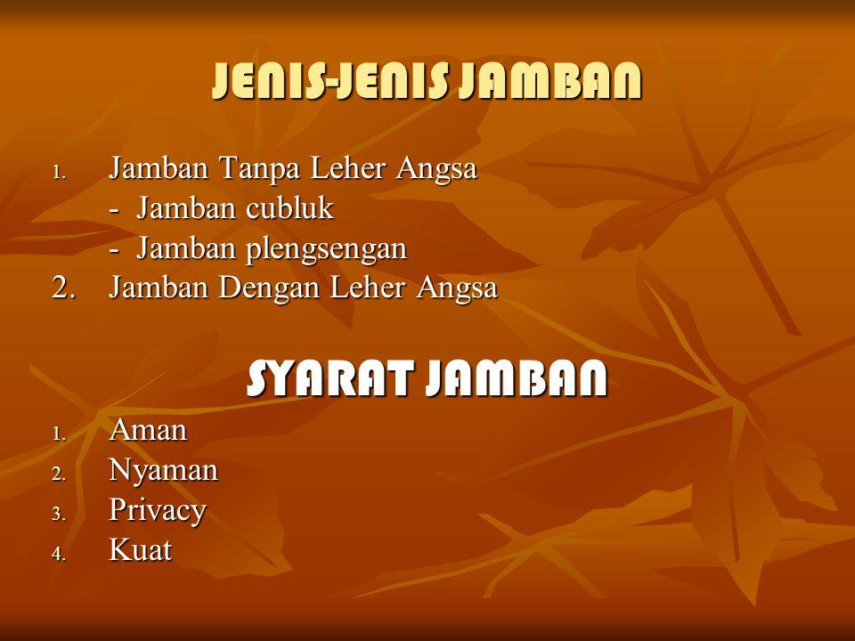 JENIS-JENIS JAMBAN SYARAT JAMBAN Jamban Tanpa Leher Angsa