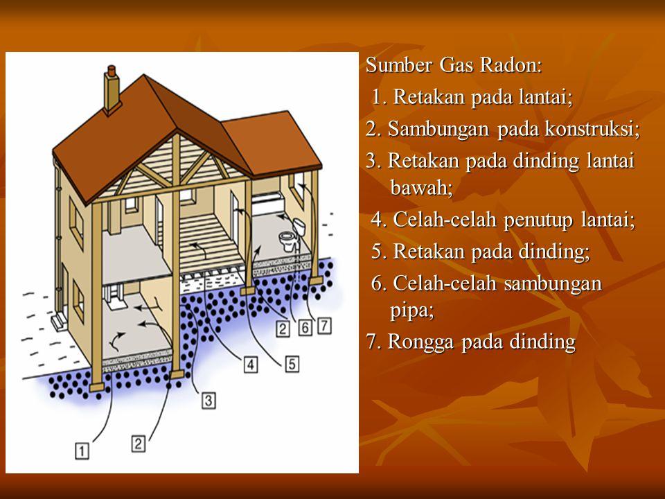 Sumber Gas Radon: 1. Retakan pada lantai; 2