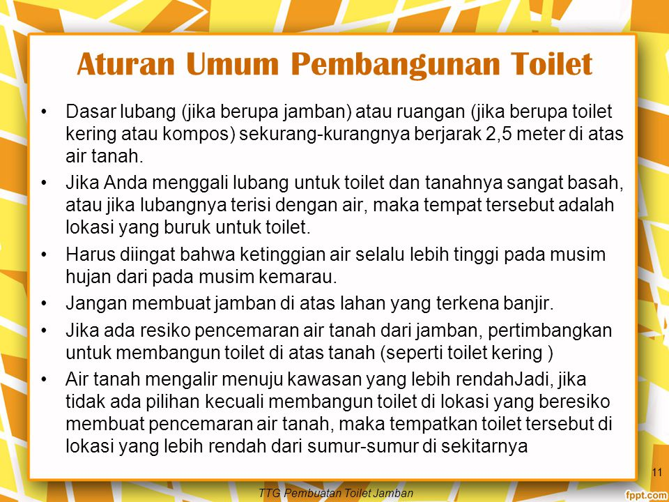 Aturan Umum Pembangunan Toilet