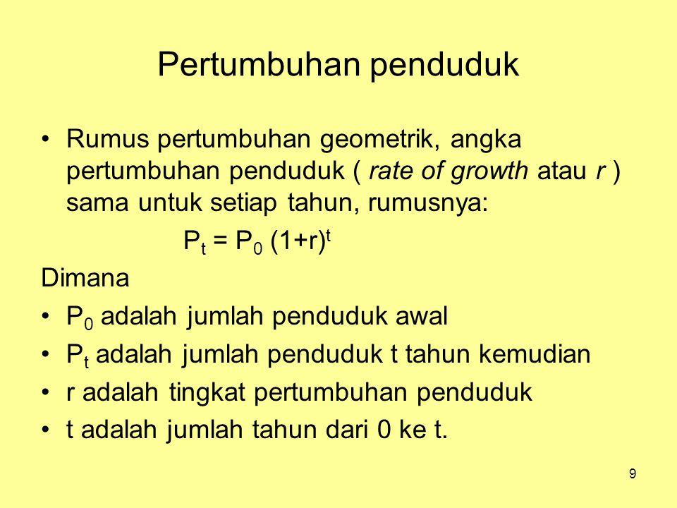 Pertumbuhan penduduk Rumus pertumbuhan geometrik, angka pertumbuhan penduduk ( rate of growth atau r ) sama untuk setiap tahun, rumusnya: