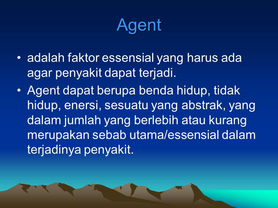 Agent adalah faktor essensial yang harus ada agar penyakit dapat terjadi.