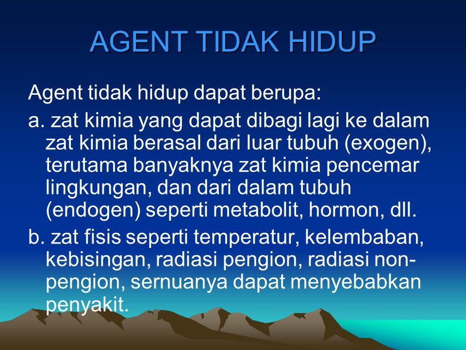 AGENT TIDAK HIDUP Agent tidak hidup dapat berupa: