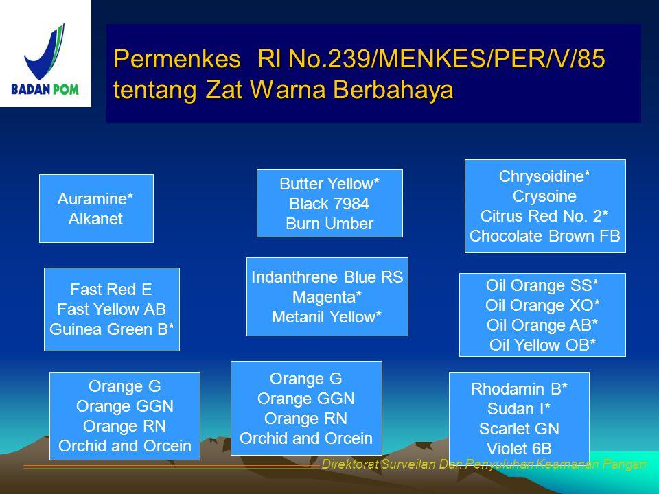 Permenkes Rl No.239/MENKES/PER/V/85 tentang Zat Warna Berbahaya
